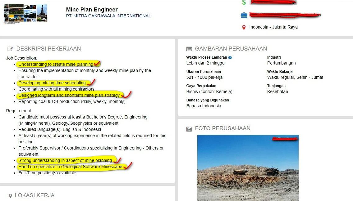 Lowongan Kerja Mine Plan Engineer