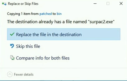 Replace the file in the destination surpac2.exe