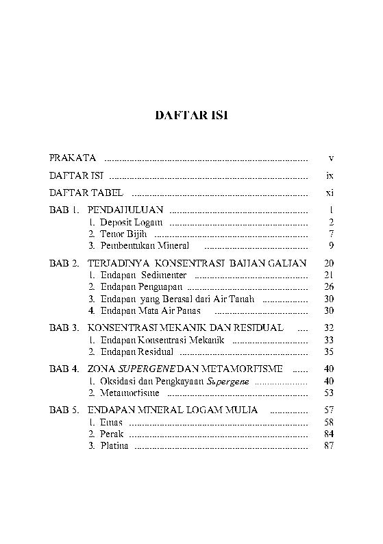 Daftar Isi Geologi Mineral Logam