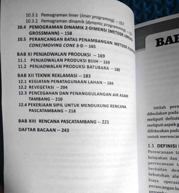 Daftar Isi Perencanaan Tambang