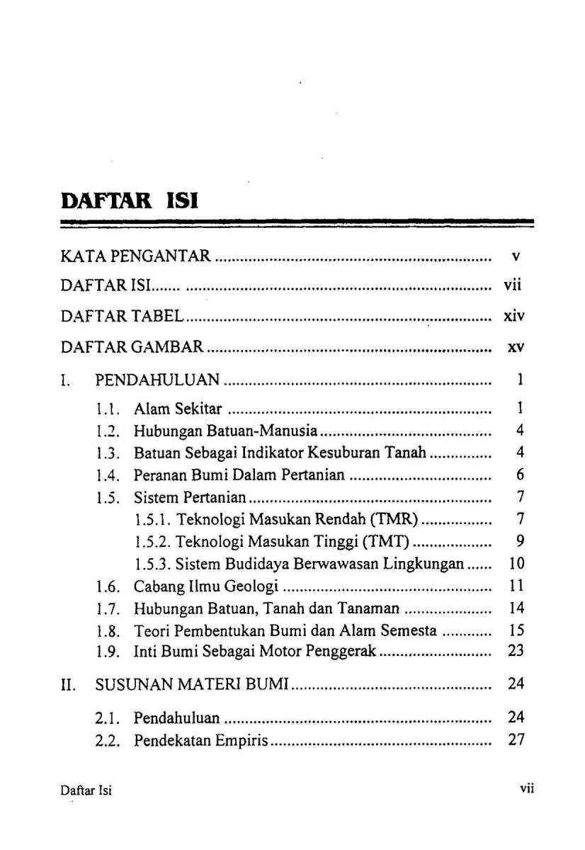 Daftar Isi Buku Geologi dan Mineralogi Tanah