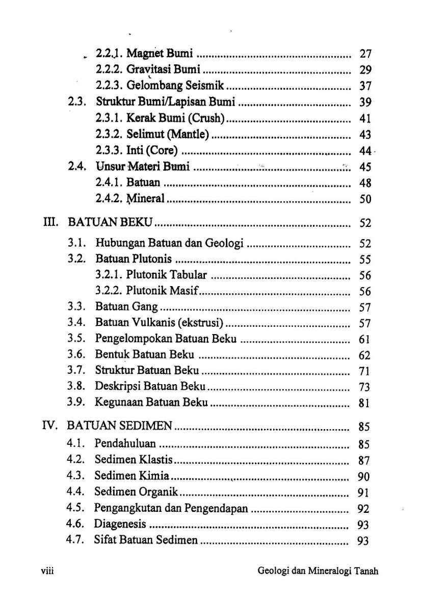 Daftar Isi Geologi dan Mineralogi Tanah