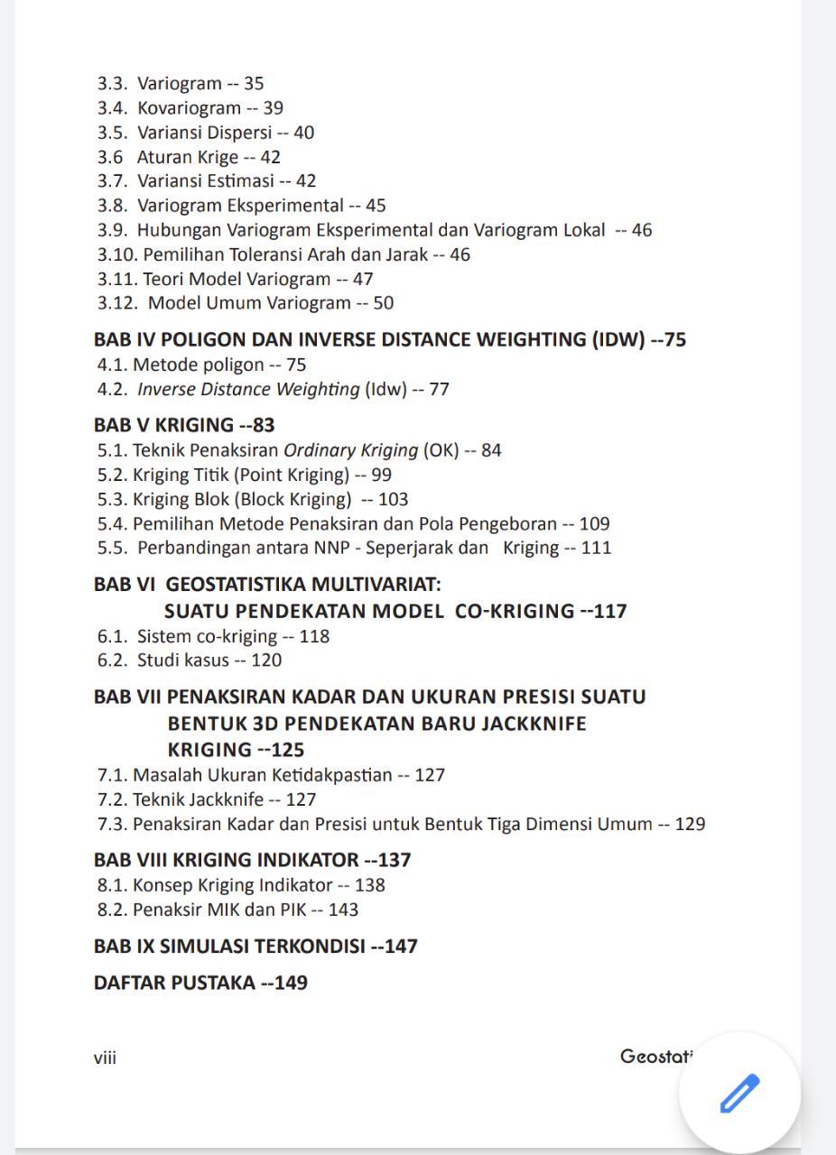 Daftar Isi Geostatistik Waterman Bargawa