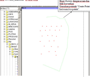 Create point floor seam layar kerja di Surpac
