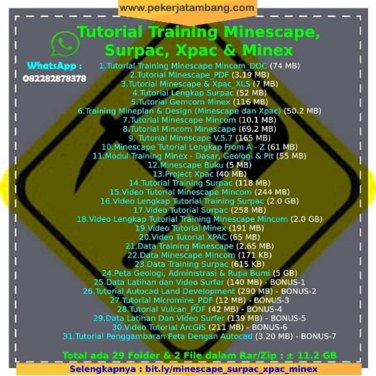 Tutorial Training Minescape, Surpac, Xpac dan Minex