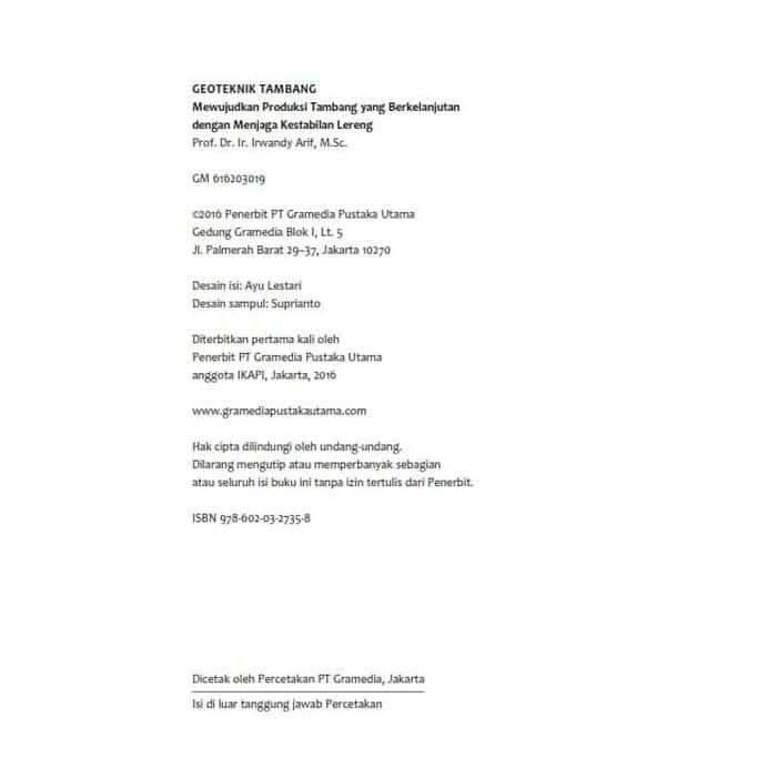 Buku Geoteknik Tambang - Prof. Dr. Irwandi Arif, MSc