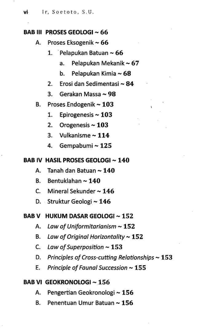 Daftar Isi Buku Geologi Dasar