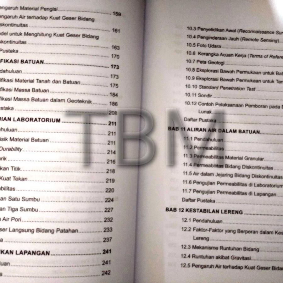 Daftar Isi Buku Geologi Teknik Didi S