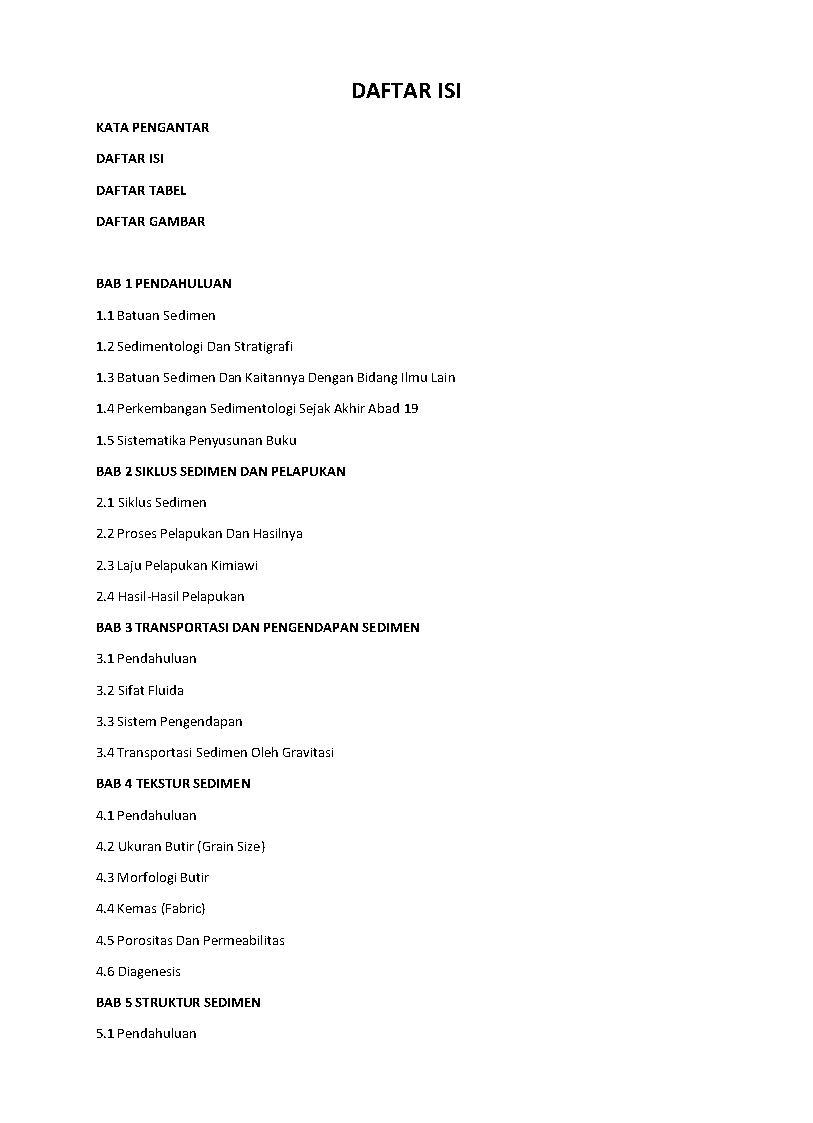 Daftar Isi Buku Sedimentologi