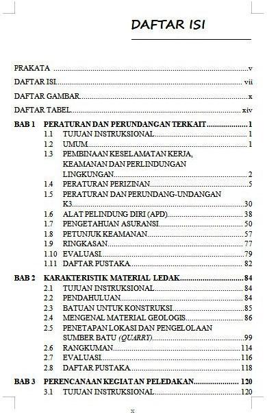 Daftar Isi Buku Pengantar Penyiapan Lubang Ledak Untuk Pemandu Juru Ledak