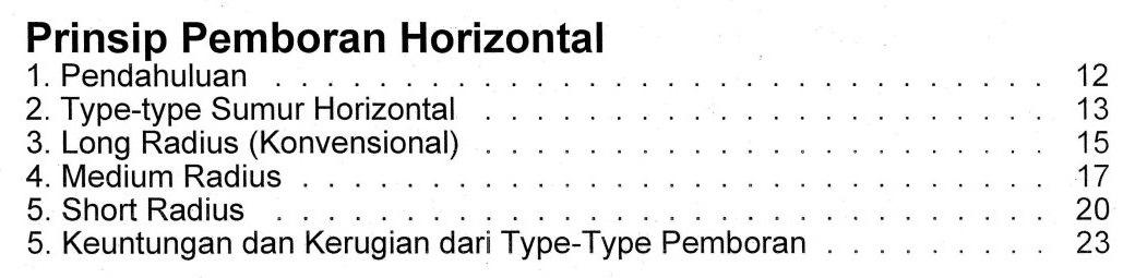Bab 1 Daftar Isi Buku Teknik Pemboran Horizontal & Multilateral Rudi Rubiandini Terbitan ITB Press