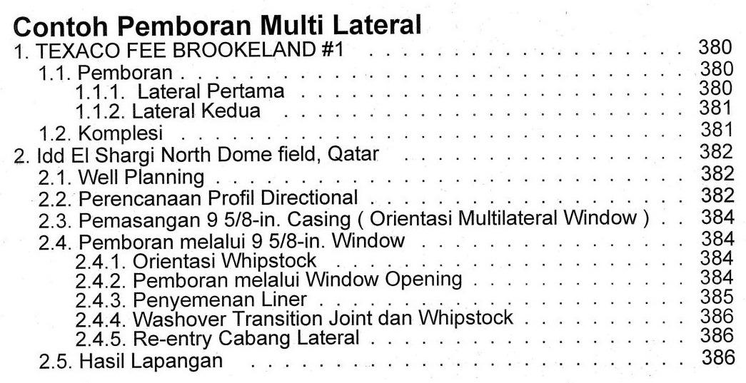 Bab 12 Daftar Isi Buku Teknik Pemboran Horizontal & Multilateral Rudi Rubiandini Terbitan ITB Press