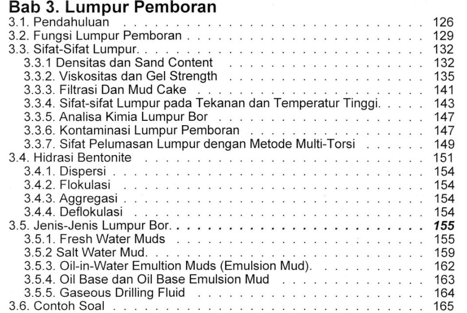 Bab 3 Daftar Isi Buku Teknik Pemboran & Praktikum Rudi Rubiandini Penerbit ITB Press