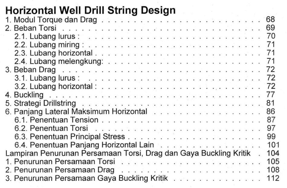 Bab 4 Daftar Isi Buku Teknik Pemboran Horizontal & Multilateral Rudi Rubiandini Terbitan ITB Press