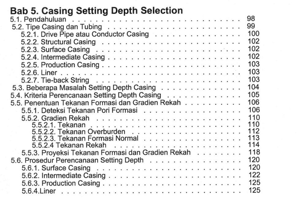 Bab 5 Buku Perancangan Pemboran Karya Dr. Ing. Ir. Rudi Rubiandini R.S. Penerbit ITB Press