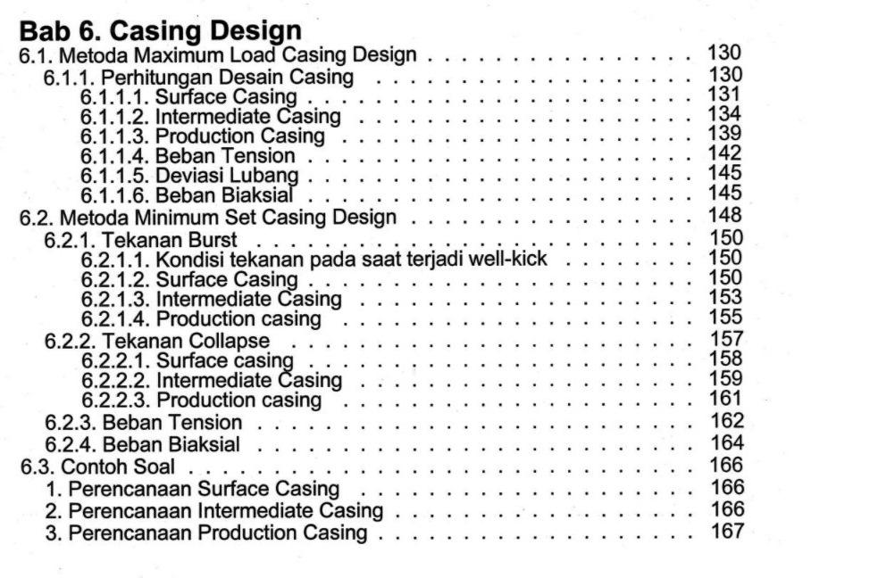 Bab 6 Buku Perancangan Pemboran Karya Dr. Ing. Ir. Rudi Rubiandini R.S. Penerbit ITB Press
