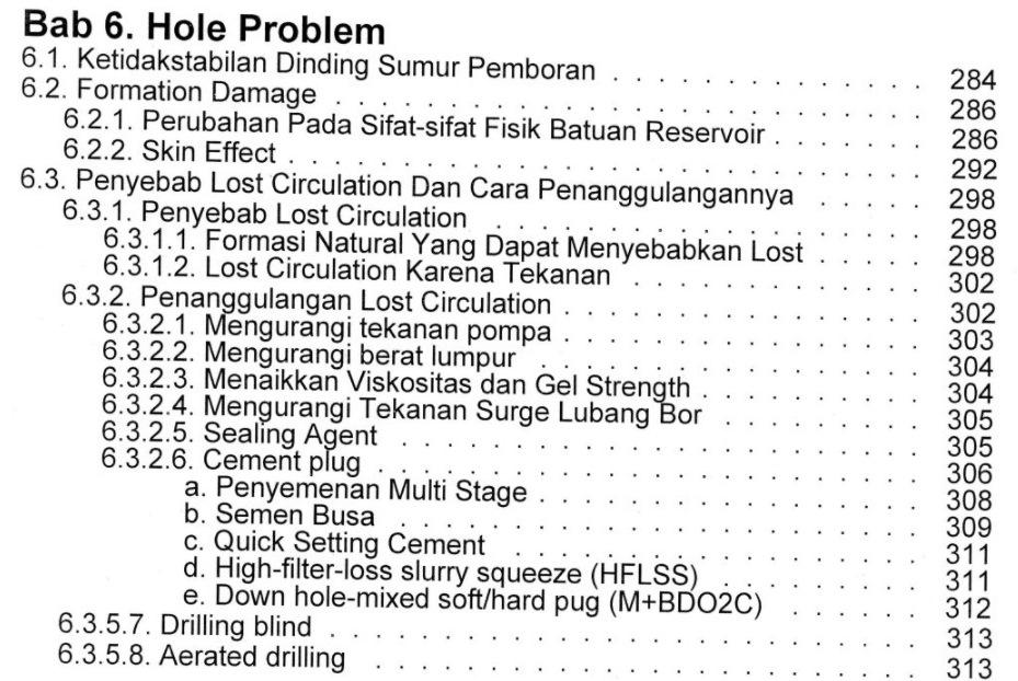 Bab 6 Daftar Isi Buku Teknik Pemboran & Praktikum Rudi Rubiandini Penerbit ITB Press