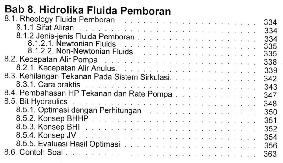 Bab 8 Daftar Isi Buku Teknik Pemboran & Praktikum Rudi Rubiandini Penerbit ITB Press