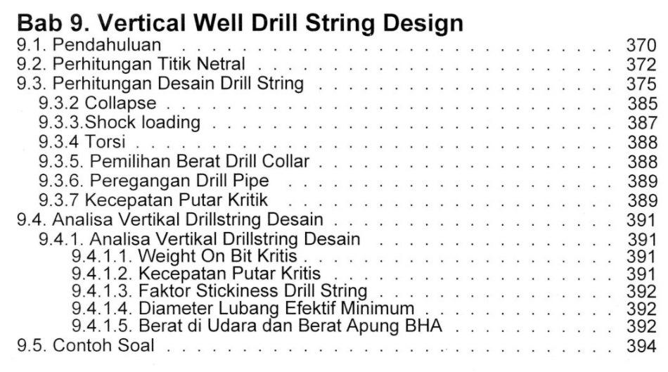 Bab 9 Daftar Isi Buku Teknik Pemboran & Praktikum Rudi Rubiandini Penerbit ITB Press