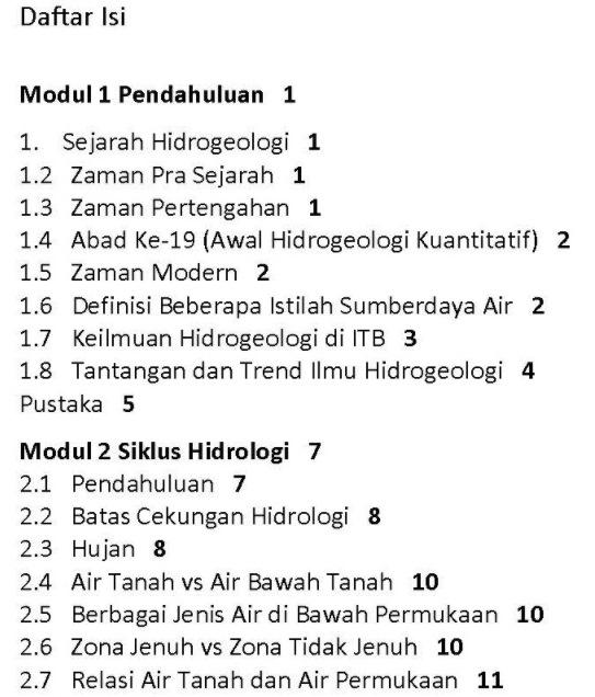 Daftar Isi Buku Hidrogeologi Umum Karya Dasapta Erwin Irawan dan Deny Juanda Puradimaja Penerbit ITB Press